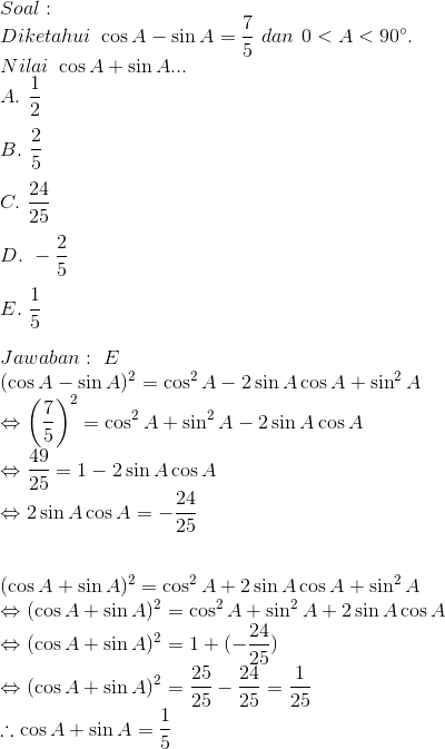 Contoh Soal Trigonometri Kelas 10 Dan Jawabannya